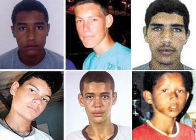 As vítimas são todas do sexo masculino, com faixa etária entre 13 e 19 anos, sumiram nas primeiras horas do dia e moravam no Parque Estrela Dalva.