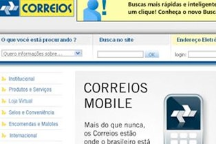 Reprodução do site dos Correios acessado pelo celular